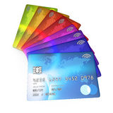 Close up 3d render of a group f different coloured credit cards Royalty Free Stock Photography