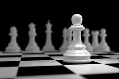 Close up of White Chess on Chessboard. Close up of 3d render White Chess on Chessboard as Strategy Sport Game Concept Royalty Free Stock Photos