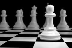 Close up of White Chess on Chessboard. Close up of 3d render White Chess on Chessboard as Strategy Sport Game Concept Stock Image
