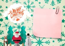 Close-up of 3D sticky note and christmas message Royalty Free Stock Image