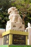 Close up da única estátua de pedra do leão no templo da baía da repulsa, Hong fotografia de stock royalty free