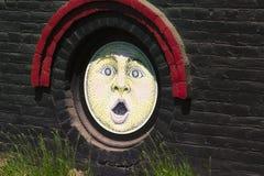 Close up da arte na construção da adega do moinho da luz do sol Imagens de Stock