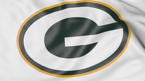 Close-up da bandeira de ondulação com logotipo americano da equipa de futebol do NFL dos Green Bay Packers, rendição 3D Imagem de Stock