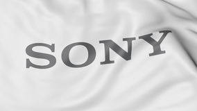 Close-up da bandeira de ondulação com logotipo de Sony Corporation, rendição 3D editorial ilustração do vetor