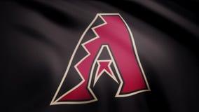 Close-up da bandeira de ondulação com logotipo da equipe de beisebol do diamante do Arizona, laço sem emenda Animação editorial vídeos de arquivo