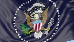 Close-up da bandeira de ondulação da Presidente dos Estados Unidos, laço sem emenda, fundo azul Animação editorial 4K video estoque
