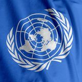 Close up da bandeira de United Nations foto de stock