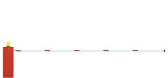 Close up da barreira da galeria, barra de porta da estrada, fechado, isolada Imagens de Stock