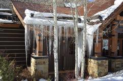 Close up da cabine do ` s de Allie; Sincelo Art Deco, Beaver Creek, recursos de Vail, Avon, Colorado Imagem de Stock