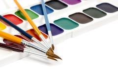 Close up da caixa do Watercolour Fotos de Stock Royalty Free