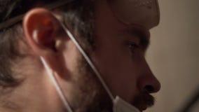 Close-up da cara do ` s do homem video estoque