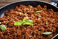 Close-up da carne picada suculenta quente Fotografia de Stock