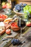 Close up da ceia com aperitivos e vinho no jardim iluminado fotografia de stock royalty free