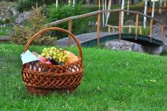 Close up da cesta do piquenique com bebidas e alimento na grama fotografia de stock