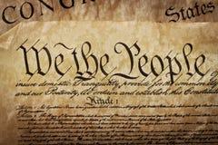 Close-up da constituição dos E.U. Foto de Stock