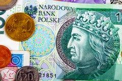 Close up da divisa estrageira do Polônia do currencie do International do dinheiro Fotos de Stock Royalty Free
