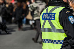 Close up da engrenagem e das proteções da polícia Fotografia de Stock Royalty Free