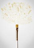Close-up da escova com setas esboçado Fotos de Stock Royalty Free