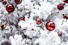 Close up da esfera do Natal da árvore de Natal Backgroun do feriado Fotografia de Stock