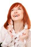 Close-up da face de sorriso bonita da mulher com vermelho Fotografia de Stock