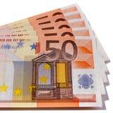 Close up da forma do fã das notas da moeda do Euro 50 Foto de Stock Royalty Free