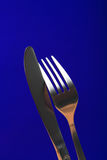 Close up da forquilha e da faca Fotos de Stock Royalty Free