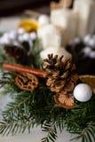 Close up da grinalda de Advent Christmas com velas fotografia de stock