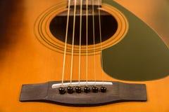 Close up da guitarra acústica Foto de Stock Royalty Free