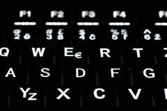 Close up da iluminação do teclado do portátil Conceito para a tecnologia computando e moderna Computador, rede, Internet foto de stock royalty free
