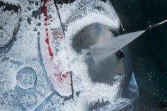 Close up da lavagem de carros Carro de lavagem pela água de alta pressão Imagem de Stock