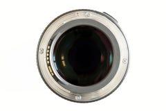 Close-up da lente da foto da câmera no fundo branco com reflec do lense foto de stock royalty free