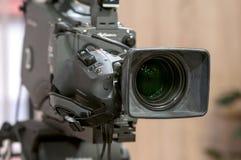 Close up da lente de câmara de televisão Fotos de Stock Royalty Free