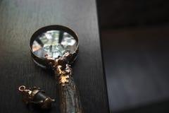 Close-up da lupa, lente de aumento do vintage feito a m?o no fundo de madeira escuro da tabela, conceito da busca, investiga??o,  foto de stock royalty free