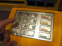 Close-up da máquina do ATM Imagens de Stock