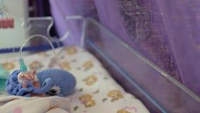 Close-up da mão de um bebê prematuro recém-nascido com um tubo unido ao braço unidade de cuidados intensivos para crianças 4K v?d video estoque