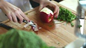 Close-up da maçã da casca com descascador vídeos de arquivo