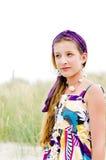 Close up da menina modelo na praia Imagens de Stock Royalty Free