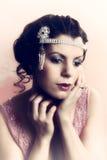 close up da mulher dos anos 20 Fotos de Stock Royalty Free
