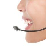 Close up da mulher dos auriculares Imagens de Stock
