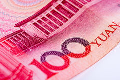 Close up da nota do yuan do chinês 100 RMB, centrando-se sobre o texto Fotografia de Stock