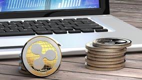 Close up da ondinha, dinheiro digital, moeda do cyber, alternativa do bitcoin Fotografia de Stock
