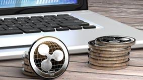 Close up da ondinha, dinheiro do cyber, moeda digital Imagem de Stock Royalty Free