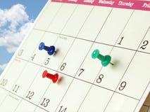Close up da página do calendário Imagem de Stock