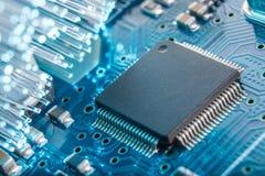 Close-up da placa de circuito eletrônico Fotografia de Stock