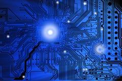 Close-up da placa do cartão-matriz do computador ou de circuito eletrônico Imagens de Stock