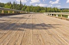Close up da plataforma de ponte de madeira Imagens de Stock Royalty Free