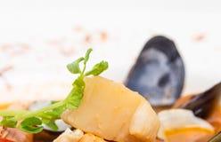 Close up da raiz de aipo na sopa do marisco do tomate Fotos de Stock