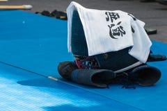 Close up da roupa tradicional de Kendo Fighter: Lenço, Gl imagens de stock royalty free