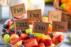 Close up da salada de fruto fresco sem preservativos Imagem de Stock