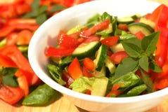 Close up da salada do tomate e do pepino Foto de Stock
